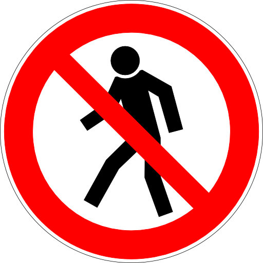 No Pedestrians Allowed Sign PNG Format