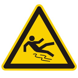 Caution Slippery Floor Hazard Sign PNG Format
